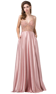 Dancing Queen - 2614 Embellished V Neck Long A-Line Gown In Pink