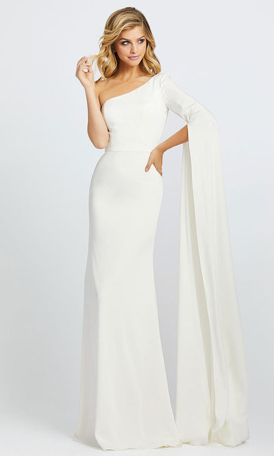 Mac Duggal - 26157I Sashed Long Sleeve One Shoulder Dress In White