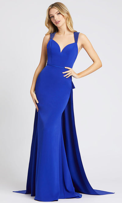 Mac Duggal - 26158I Bow Accented Sheath Overskirt Dress In Blue
