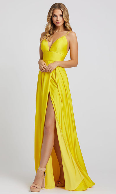 Mac Duggal - 26165I Sweetheart Neck Empire Waist A-Line Gown In Yellow