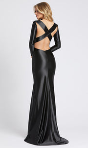 Mac Duggal - 26169I Cross Strapped Open Back Fitted Gown In Black