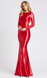Mac Duggal - 26169I Cross Strapped Open Back Fitted Gown In Red