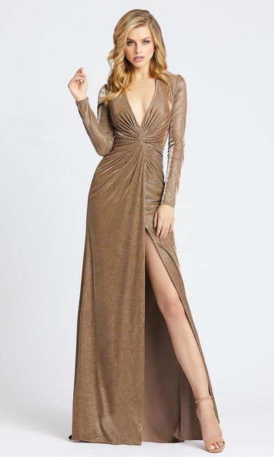 Mac Duggal - 26194I Deep V Neck Fitted Dress With Slit In Brown