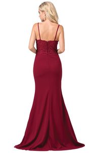 Dancing Queen - 2620 Embroidered V Neck Trumpet Dress With Train In Red