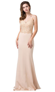 Dancing Queen - 2620 Embroidered V Neck Trumpet Dress With Train In Neutral