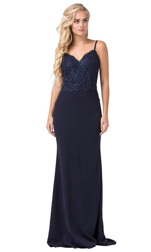 Dancing Queen - 2620 Embroidered V Neck Trumpet Dress With Train In Blue