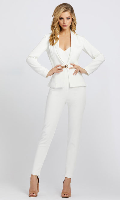 Mac Duggal - 26223I Strapless Bustier Jumpsuit with Jacket In White