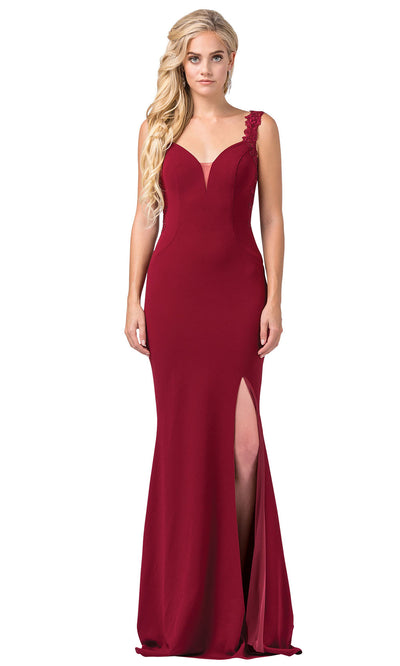 Dancing Queen - 2623 Embroidered Deep V Neck Trumpet Dress In Red