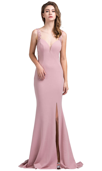 Dancing Queen - 2623 Embroidered Deep V Neck Trumpet Dress In Pink