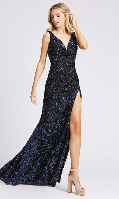 Mac Duggal - 26240I Sequined Plunging V Neck Fitted Dress In Blue