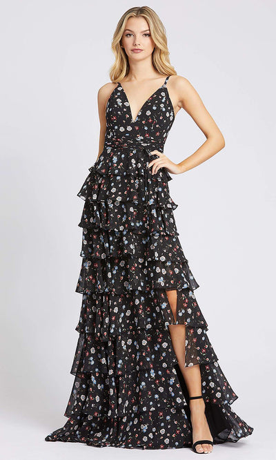 Mac Duggal - 26251I Floral Print Tiered High Slit Dress In Black