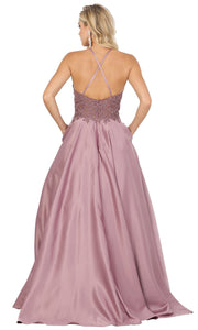 Dancing Queen - 2625 Embroidered Halter Neck A-Line Dress In Brown