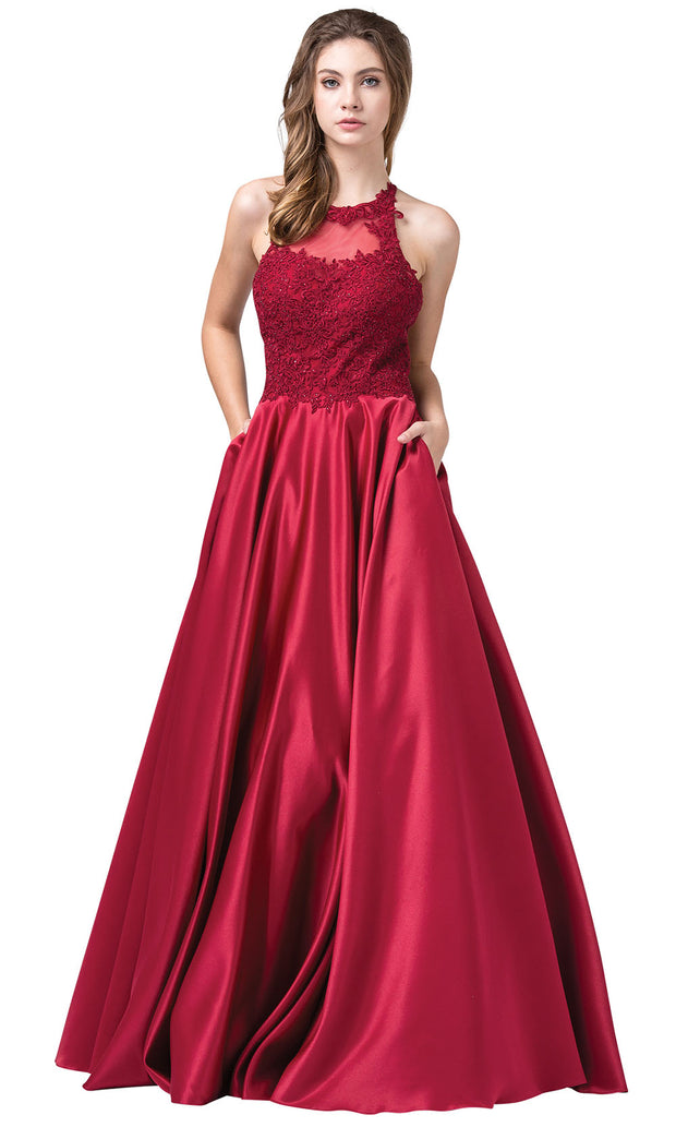 Dancing Queen - 2625 Embroidered Halter Neck A-Line Dress In Red