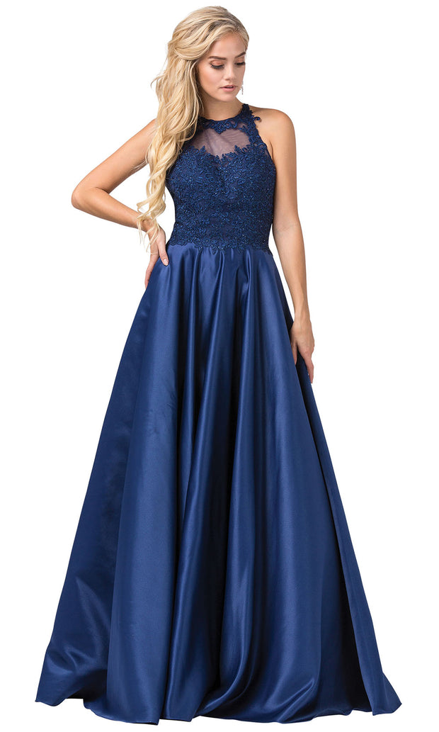 Dancing Queen - 2625 Embroidered Halter Neck A-Line Dress In Blue