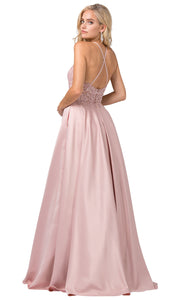 Dancing Queen - 2625 Embroidered Halter Neck A-Line Dress In Pink and Gold