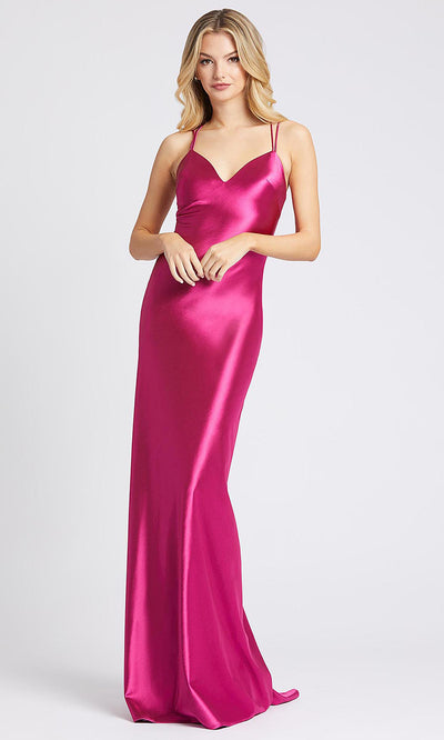Mac Duggal - 26263I Strappy V-Neck Sheath Evening Dress In Pink
