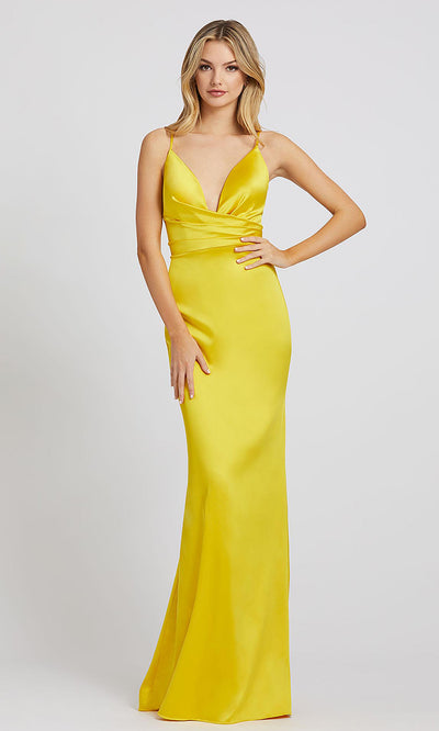 Mac Duggal - 26264I Plunged V Neck Evening Gown With Train In Yellow