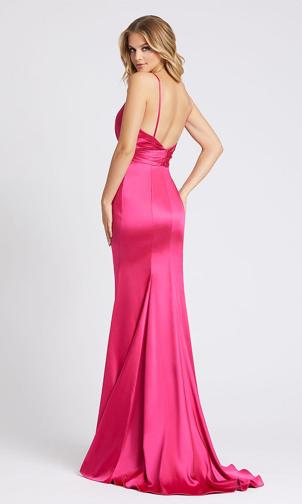 Mac Duggal - 26264I Plunged V Neck Evening Gown With Train In Pink