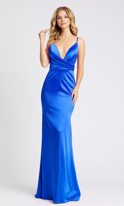 Mac Duggal - 26264I Plunged V Neck Evening Gown With Train In Blue