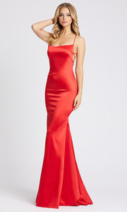 Mac Duggal - 26268I Strappy Open Back Silky Mermaid Gown In Red
