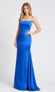 Mac Duggal - 26268I Strappy Open Back Silky Mermaid Gown In Blue