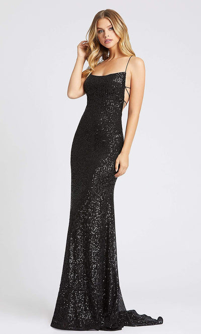 Mac Duggal - 26269I Open Back Fitted Sequin Evening Gown In Black