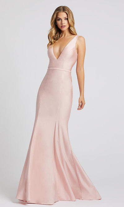 Mac Duggal - 26273I Deep V Neck Trumpet Dress With Train In Pink