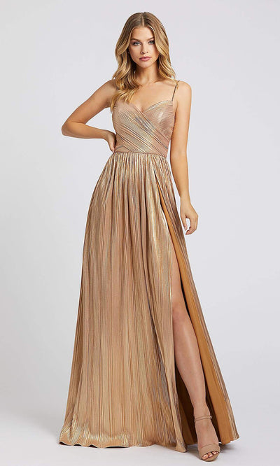 Mac Duggal - 26275I Plunging V Neck A-Line Gown In Gold