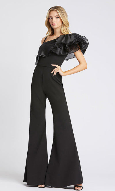 Mac Duggal - 26314I Ruffled Asymmetric Jumpsuit In Black