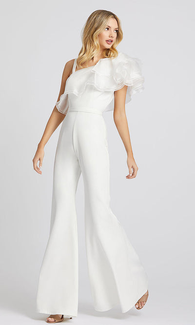 Mac Duggal - 26314I Ruffled Asymmetric Jumpsuit In White