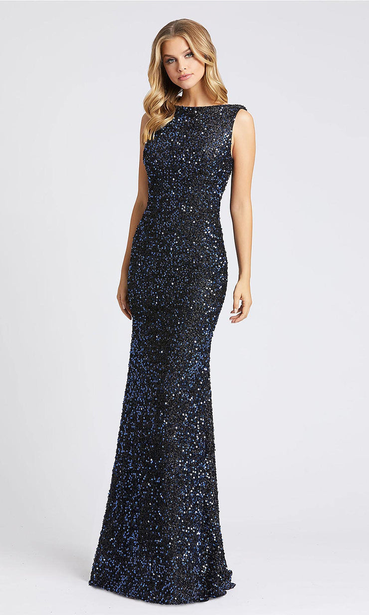 Mac Duggal - 26331I Cowl Back Long Sequined Dress In Blue
