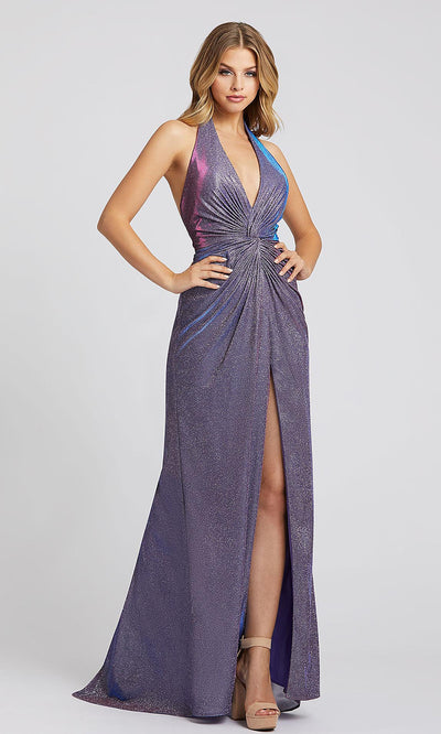 Mac Duggal - 26341I Deep Halter V Neck Fitted Dress In Purple