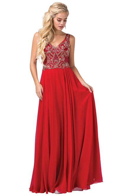 Dancing Queen - 2647 Jeweled Applique A-Line Dress In Red