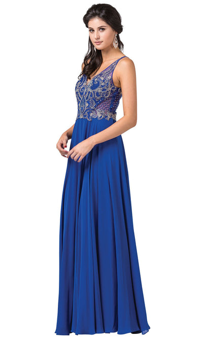 Dancing Queen - 2647 Jeweled Applique A-Line Dress In Blue