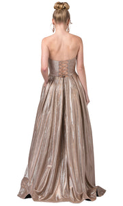 Dancing Queen - 2651 Strapless Shimmer Metallic A-Line Gown In Champagne & Gold