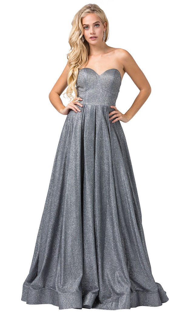 Dancing Queen - 2651 Strapless Shimmer Metallic A-Line Gown In Silver & Gray