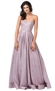 Dancing Queen - 2651 Strapless Shimmer Metallic A-Line Gown In Pink
