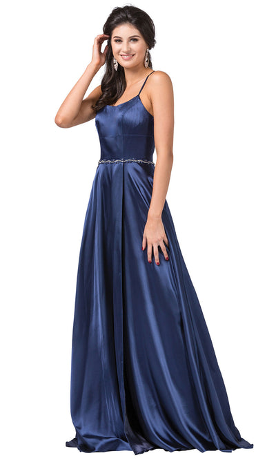 Dancing Queen - 2652 Sleek Cutout Back High Slit A-Line Dress In Blue