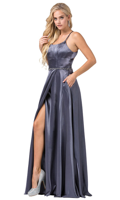 Dancing Queen - 2652 Sleek Cutout Back High Slit A-Line Dress In Gray
