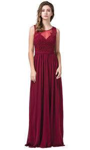 Dancing Queen - 2677 Sleeveless Embroidered A-Line Dress In Red