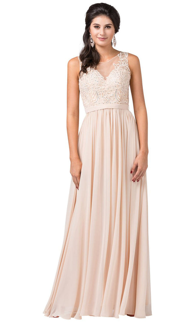 Dancing Queen - 2677 Sleeveless Embroidered A-Line Dress In Neutral