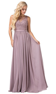 Dancing Queen - 2677 Sleeveless Embroidered A-Line Dress In Brown