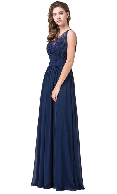 Dancing Queen - 2677 Sleeveless Embroidered A-Line Dress In Blue