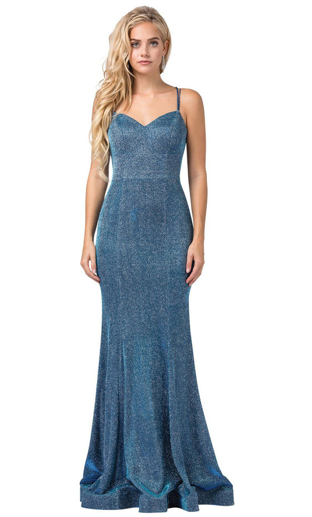 Dancing Queen - 2698 Sleeveless V-Neck Shimmer Mermaid Gown In Blue
