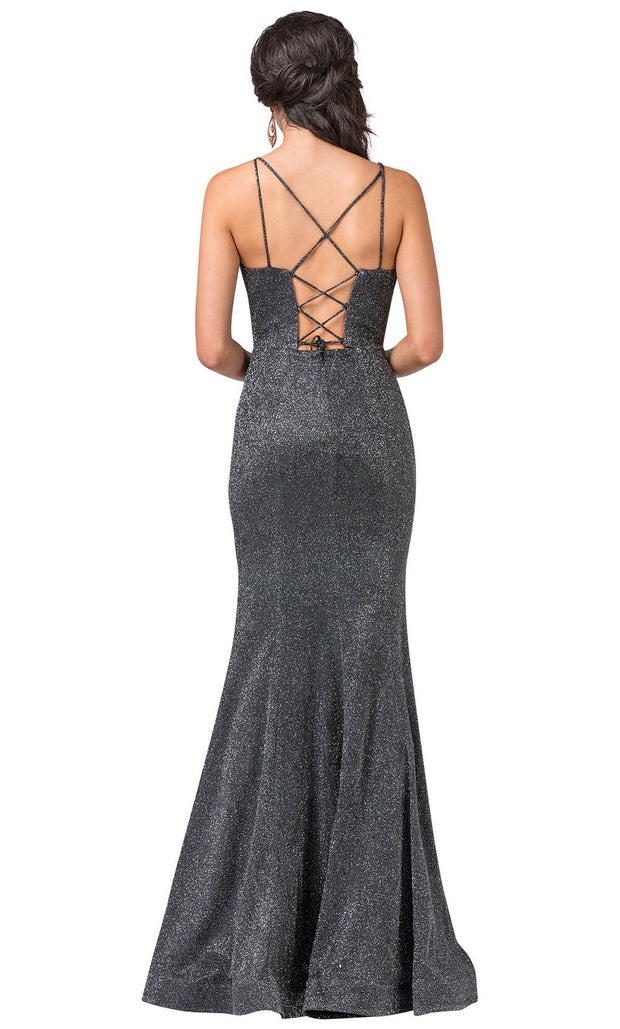 Dancing Queen - 2698 Sleeveless V-Neck Shimmer Mermaid Gown In Silver & Gray