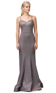 Dancing Queen - 2698 Sleeveless V-Neck Shimmer Mermaid Gown In Brown