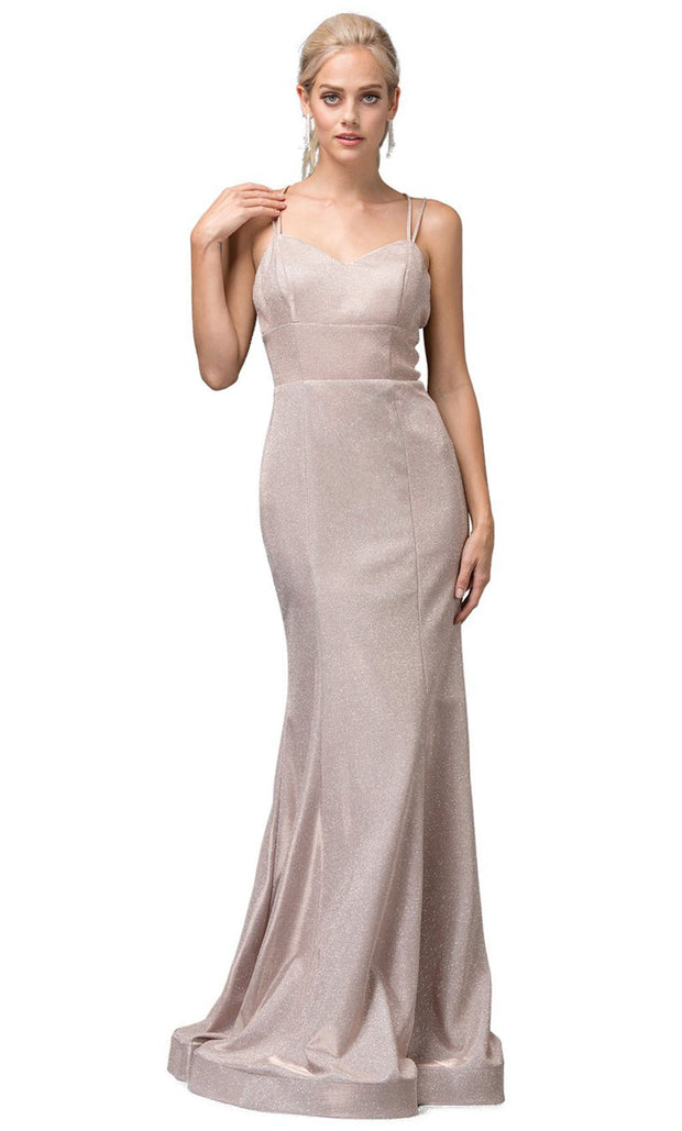 Dancing Queen - 2698 Sleeveless V-Neck Shimmer Mermaid Gown In Champagne & Gold