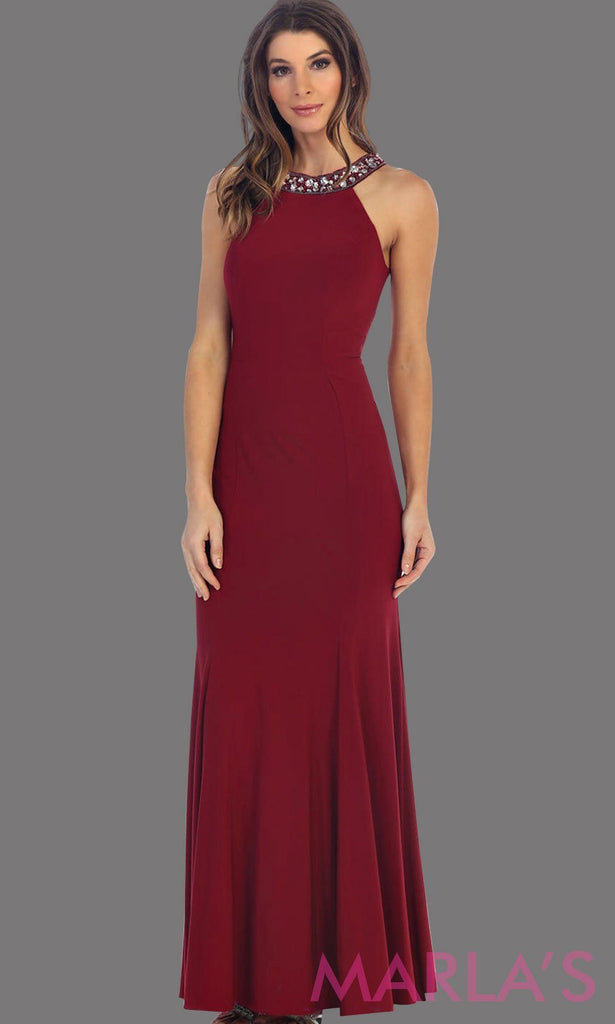 Beautiful high neck burgundy fitted long dress with rhinestone neck. This is a perfect dark red dress for prom, sleek and sexy wedding guest dress, or a tight fitted party dress. Available in plus sizes.