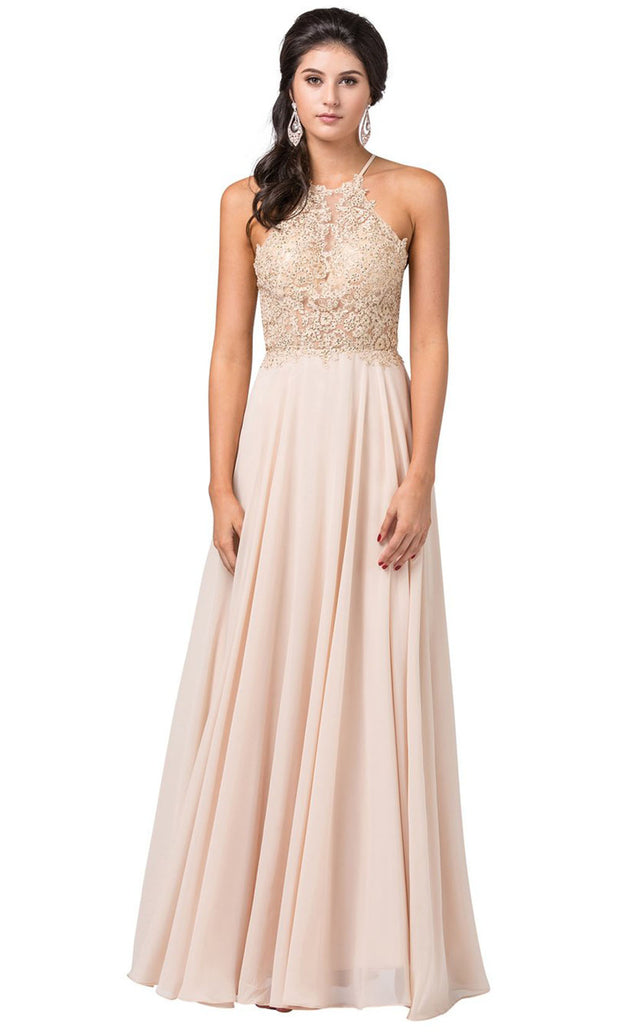 Dancing Queen - 2716 Embroidered Halter A-Line Dress In Champagne & Gold