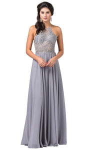 Dancing Queen - 2716 Embroidered Halter A-Line Dress In Silver & Gray